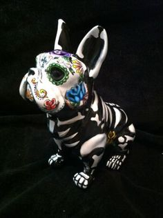 Dia De Los Muertos French bulldog. I want to create my own bully breed day of the dead dog, and make it super colorful!