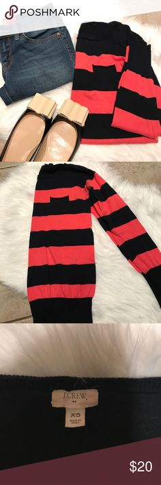 Jcrew striped sweater Jcrew Navy blue and pink striped sweater with small pocket. Sleeve 20'. Chest 17' length 24' J. Crew Factory Sweaters Crew & Scoop Necks