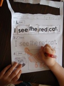 I would prefer that the sight words to cut out were not in order and there was no tracing line so that the students had to figure out the sentence on their own, then draw it.  But putting sight words in context is always good!