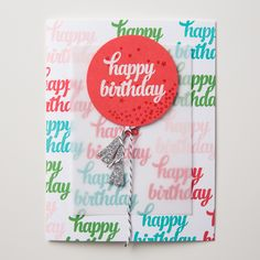 The Tin of Cards stamp set pairs so well with the Balloon Framelits!