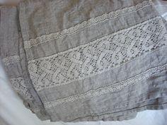 Heavy Bath towel linen bath towel with linen lace trim by Luxoteks by Luxoteks on Etsy