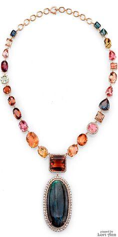 Irene Neuwirth One of a Kind Necklace with Tourmaline, Aquamarine, Labradorite…