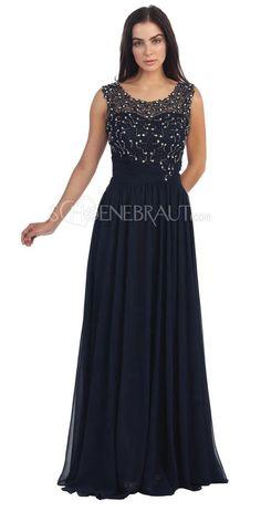 Abendkleider rückenfrei lang U Aussnitt mit Jewels [#UD9218] - schoenebraut.com