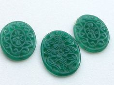 Green Onyx Filigree Hand Carved 3 Pc Set Green by gemsforjewels