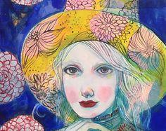 Dwergpapegaaien - originele mixed media schilderij door Maria tempo-Wynters