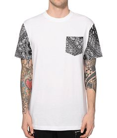 Get your street style on point with a black and white paisley bandana print left chest pocket and sleeves on a tagless white body.