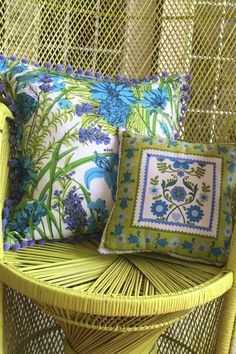 DIY no-sew pillows made with Vera Neuman napkins.