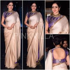 Sridevi in a Manish Malhotra saree on the sets of Nach Baliye Brocade Blouse Designs, Designer Blouse Patterns, Indian Dresses, Indian Outfits, Manish Malhotra Saree, Simple Sarees, Plain Saree, Saree Look, Latest Designer Sarees