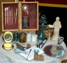 Reconstructed Roman Beauty set. Roman beauty kit, Tarraco viva, 2007.
