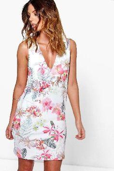 #boohoo Oriental Floral Printed V Neck Shift Dress - #Faye Oriental Floral Printed V Neck Shift Dress - multi
