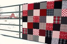 Patchwork Quilt made with red and black plaid and flannel  - diaryofaquilter.com
