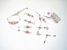 Parure mariage swarovski perles nacrées vieux rose et blanches - collier bo bracelet peigne : Parure par murielcrea
