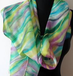 Cool & happy multicolored striped scarf, abstract hand painted in yellow, green, purple, white, and turquoise blue. OOAK, good energy ;)