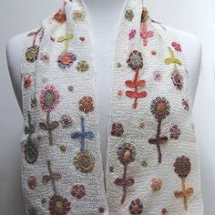 Beautiful hand crocheted linen scarves are here! Perfect for this spring weather that can't make up its mind! Crochet Art, Hand Crochet, Crochet Patterns, Crochet Scarves, Crochet Clothes, Crochet Circles, Textiles, Motif Floral, Beautiful Crochet
