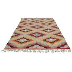 Vintage Turkish Kilim Rug - 6′10″ × 10′3″ (2,320 CAD) ❤ liked on Polyvore featuring home, rugs, traditional handmade rugs, kilim rugs, hand woven rugs, anatolian kilim rug, hand-loomed rug and hand made rugs