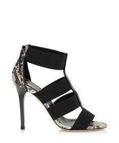 Black leather snake print heels Sale - Jady Rose Sale