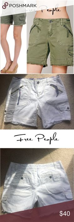 """Free People cargo boyfriend shorts 4 Free People cargo boyfriend cut off shorts in white with brass colored buttons and zippers and egg shell threading throughout. Regular pockets topped with zippered pockets, and small cargo pockets, as well as button back pockets! EUC! Zip/ button fly. Flowers material on zippers and inner waistband. 98% cotton, 2% spandex. Stretchy waist, approx 14.5"""", 6.5"""" rise, 14"""" long💖 Free People Shorts Bermudas"""