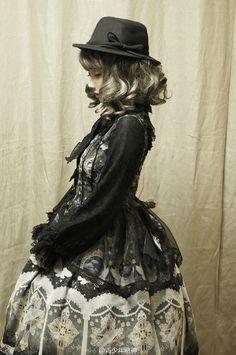 Lolita, style, details, black, dress, hat, kfashion