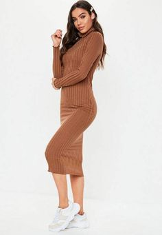 503f58ef2 Missguided Tall Camel Ribbed Turtle Neck Midi Dress
