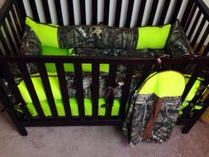Mossy oak infinity camo with lime green minky by itburnsbaby 245 00