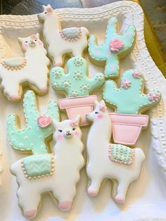 Llama and Cactus Decorated Cookie Favors, 1 Dozen - Edible birthday or shower party favors, Llama and Cactus cookie favors. You will get 6 of the llama - Iced Cookies, Cute Cookies, Royal Icing Cookies, Cookies Et Biscuits, Baby Cookies, Heart Cookies, Owl Cookies, Iced Biscuits, Nutella Cookies