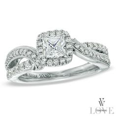 Vera Wang LOVE Collection 7/8 CT. T.W. Princess-Cut Diamond Frame Engagement Ring in 14K White Gold - Zales