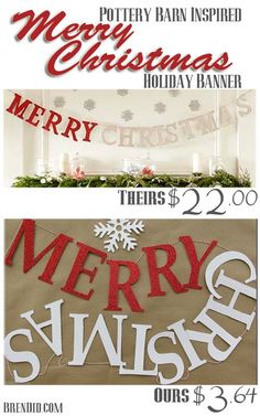 Easy and Affordable Christmas Decorations: PB Inspired Merry Christmas Banner. Modern Christmas Decor, Simple Christmas, All Things Christmas, Christmas Holidays, Christmas Decorations, Christmas Ideas, Holiday Ideas, Merry Christmas Banner, Holiday Banner