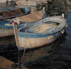 Fishing Boat docked in Cap Ferrat, France by Derek Penix Oil ~ 16 x 16