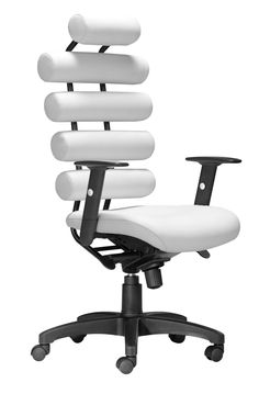 Unico Office Chair in White Leatherette & Painted Metal