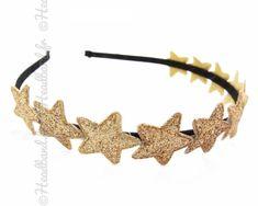 Serre-tête couronne étoiles glitter doré