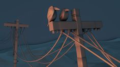 Raw detail: two craws on a electricity pole. I modeled the craws not very detailed. To much detail does not fit in this concept and in the final visual the crows are way in the back.