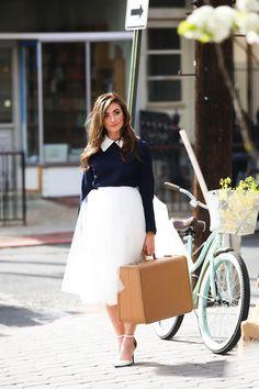 Space 46 Ivory tulle skirt, vintage photoshoot, vintage bike, vintage suitcase, feminine fashion