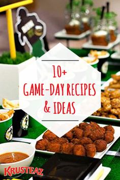 Don't fall victim to game-day hosting woes! Make it an easy and delicious day of cheering on your team with over 10 Game-Day Recipes and Football Party Ideas that your friends and guests will love! Co (Fall Recipes Party) Finger Food Appetizers, Finger Foods, Appetizer Recipes, Appetizer Ideas, Fall Appetizers, Football Snacks, Football Parties, Tailgate Food, Tailgating Recipes