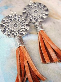 Handmade Sterling Silver Tassel Earrings, Hippie Chic Jewelry by HappyGoLicky. PIN10 is your 10% off coupon code on www.HappyGoLickyJewelry.com