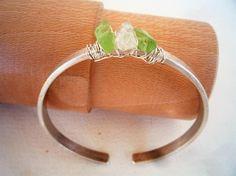 Sterling Silver hammered bangle bracelet Green  by Iridonousa