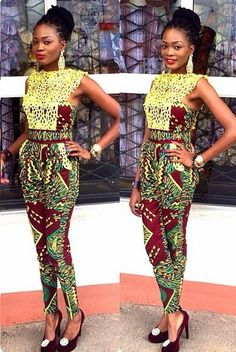 Ankara & Lace Fitted Jumpsuit