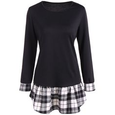 Long Sleeve Peplum Tee with Plaid Details, BLACK, XL in Long Sleeves | DressLily.com