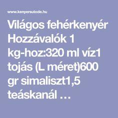 Világos fehérkenyér Hozzávalók 1 kg-hoz:320 ml víz1 tojás (L méret)600 gr simaliszt1,5 teáskanál …
