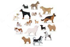 Dogs Breed Set in Cartoon Style . $7.00