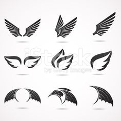 Wing icon set. royalty-free stock vector art