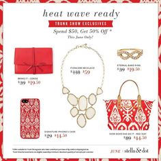 Get ready for the June trunk show specials!!  Spend $50 and get these AMAZING styles for half off!!  Private message me for available dates! www.stelladot.com/amygreenstein