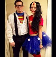 DIY Clark Kent and Wonder Woman costumes #diy #wonderwoman #clarkkent #costumes