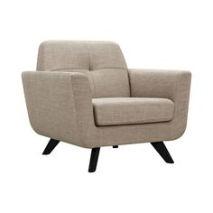 Travel back in time with this stylish Briella Lounge Chair. Inspired by mid-century designs, this charming chair boasts a modified and minimalistic take on the classic bucket-style chair. Its ultra-plu...  Find the Briella Lounge Chair, as seen in the Mid-Century Luxe Collection at http://dotandbo.com/collections/mid-century-luxe?utm_source=pinterest&utm_medium=organic&db_sku=119125