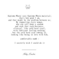 Supreme-Whore-Material - Kitty Tenebris  comfortably numb poetry poem poets of instagram kitty tenebris instaquote quotes