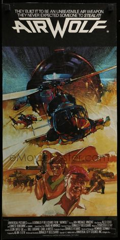 AIRWOLF Aust daybill Jan-Michael Vincent, Borgnine, Alex Cord, Vaughn art of helicopter! Ernest Borgnine, Film Movie, 1984 Movie, Sci Fi Tv Series, Movie Poster Art, Action Film, Classic Tv, Great Movies, Helicopters