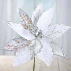 Silver and White Velvet and Mesh Artificial Poinsettia Stem
