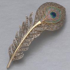 Art Nouveau Plique-à-Jour Enamel, Diamond, Gold, and Platinum Peacock Feather Brooch by Boucheron, Austria