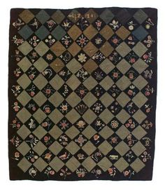 Bedcover. Whitfield, Maine, 1841. Made by Abby Y. Palmer. Wool plain weave, pieced, applique, embroidery and quilting. From the MFA Boston: 42.515