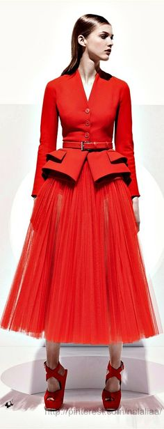 Christian Dior Resort 2013...Would love to see Kate in something like this. She's beautiful in red, and this suit jacket is lady like and sophisticated with a belt to emphasize her tiny waist.  I also like the fun ballerina tulle skirt...how it would twirl so lovely...I would definitely change those shoes though!