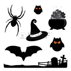 Halloween elements - spider, owls, witch hat, cauldron, bat, cemetery